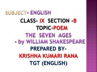 SUBJECT - ENGLISH