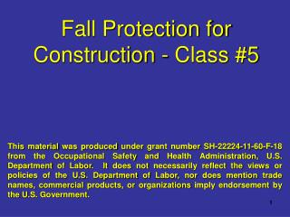 Fall Protection for Construction - Class  #5