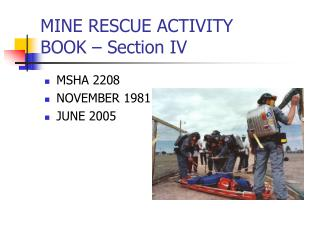 MINE RESCUE ACTIVITY  BOOK – Section IV