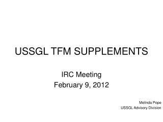 USSGL TFM SUPPLEMENTS