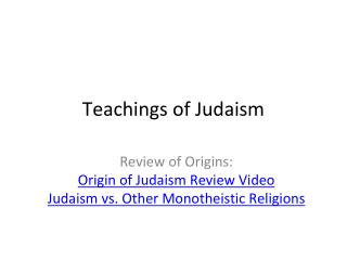 Teachings of Judaism