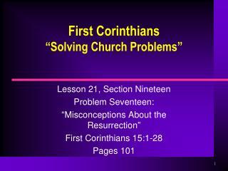 "First Corinthians ""Solving Church Problems"""