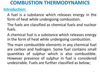 COMBUSTION THERMODYNAMICS