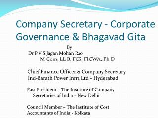 Company Secretary - Corporate Governance &  Bhagavad Gita