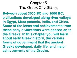 Chapter 5  The Greek City-States