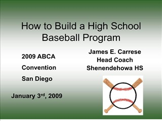How to Build a High School Baseball Program