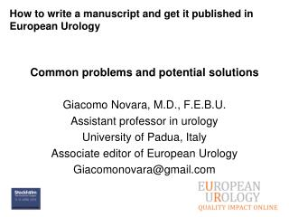 How to write a manuscript and get it published in European Urology