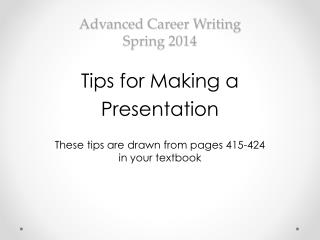 Advanced Career Writing Spring  2014