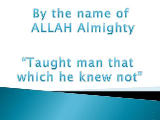 By the name of  ALLAH Almighty