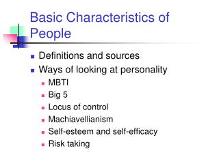 Basic Characteristics of People
