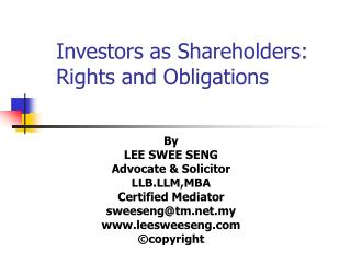 Investors as Shareholders: Rights and Obligations