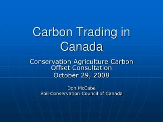 Carbon Trading in Canada