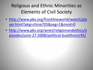 Religious and Ethnic Minorities as Elements of Civil Society