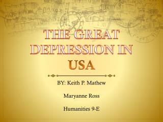 THE GREAT DEPRESSION IN USA