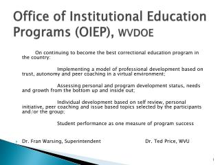 Office of Institutional Education Programs (OIEP),  WVDOE