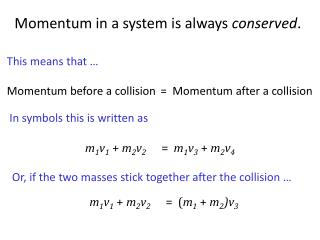 =  Momentum after a collision