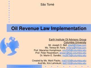 Oil Revenue Law Implementation