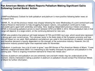 Pan American Metals of Miami Reports Palladium Making Signif