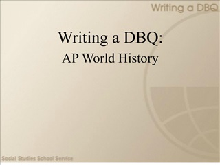 Writing a DBQ: AP World History