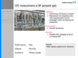 LPG measurement at BP (propane gas)