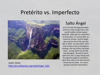 Pretérito vs. Imperfecto