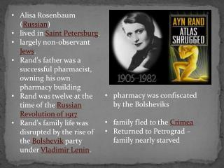 Alisa Rosenbaum ( Russian ) lived in  Saint Petersburg .  largely non-observant  Jews .