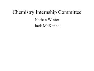 Chemistry Internship Committee
