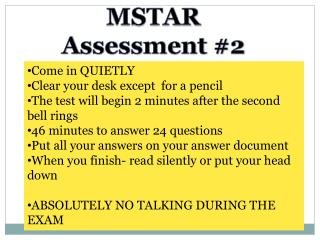MSTAR Assessment #2