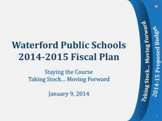 Waterford Public Schools 2014-2015 Fiscal Plan
