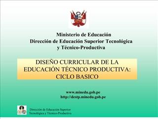 DISE O CURRICULAR DE LA EDUCACI N T CNICO PRODUCTIVA: CICLO BASICO