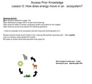 Access Prior Knowledge Lesson 5: How does energy move in an 