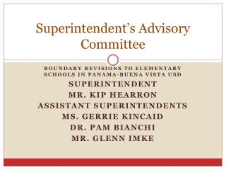 Superintendent's Advisory Committee