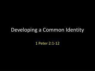 Developing a Common Identity