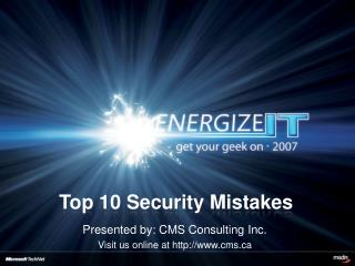 Top 10 Security Mistakes