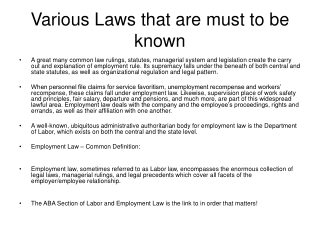 Various Laws that are must to be known