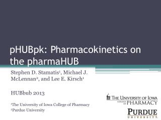 pHUBpk : Pharmacokinetics on the  pharmaHUB