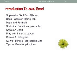 Introduction To 2010 Excel