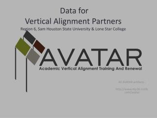 Data for  Vertical Alignment Partners Region 6, Sam Houston State University & Lone Star College