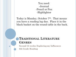 Traditional Literature Genres