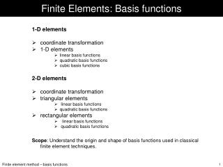 Finite Elements: Basis functions