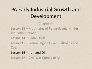 PA Early Industrial Growth and Development