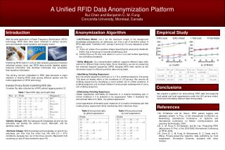 A Unified RFID Data  Anonymization  Platform Rui  Chen and  Benjamin C. M.  Fung