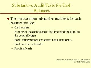 Substantive Audit Tests for Cash Balances