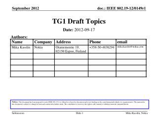 TG1 Draft Topics