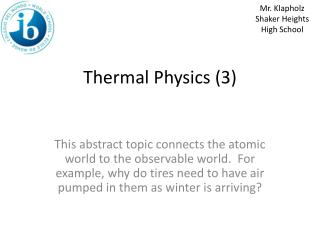 Thermal Physics (3)