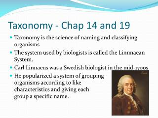Taxonomy - Chap 14 and 19