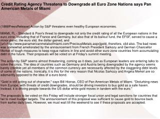 Credit Rating Agency Threatens to Downgrade all Euro Zone Na