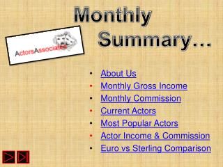 About Us Monthly Gross Income Monthly Commission Current Actors Most Popular Actors
