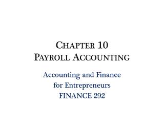 Chapter 10 Payroll  Accounting