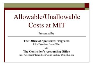Allowable/Unallowable Costs at MIT